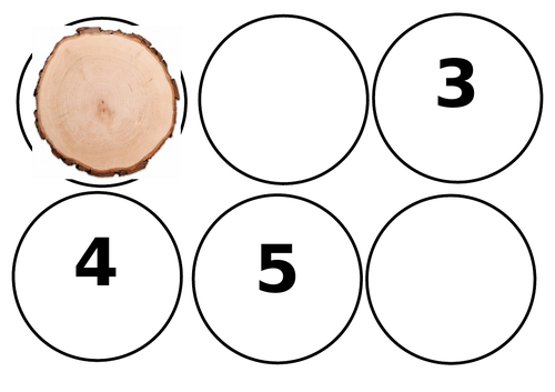 Log slices with numbers, missing numbers and dots for correspondence