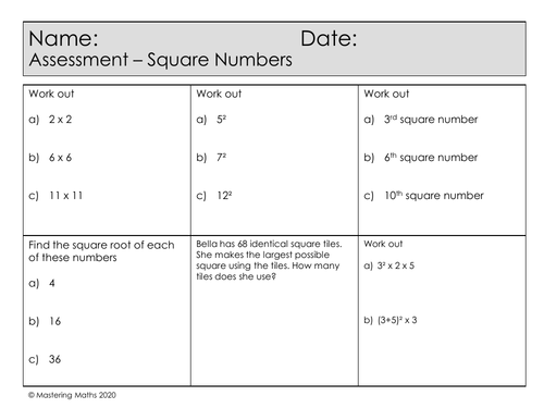 Quick Mastery Assessment - Square Numbers