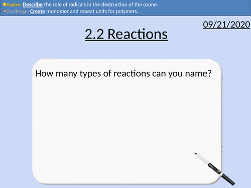 OCR Applied Science: 2.2 Reactions