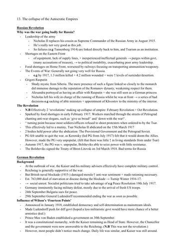 AQA Hist Section 4 1917-23: International Relations