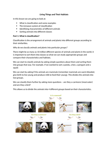 Lesson for all of Living Things & Their Habitats Yr. 6