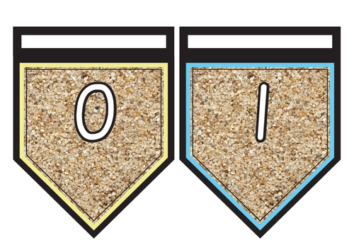 Number Line Bunting 0-20 on Sand Background