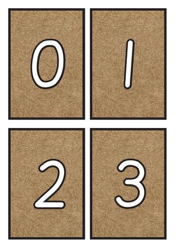 Flashcards Number 0-20 on Kraft Background