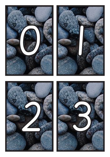 Flashcards Number 0-20 on Pebble Background