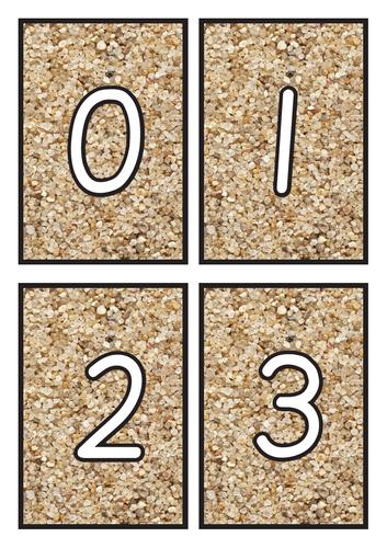 Flashcards Number 0-20 on Sand Background