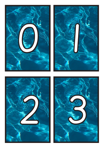 Flashcards Number 0-20 on Water Background