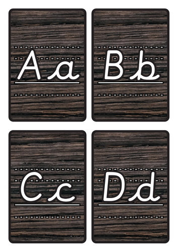 Lined Alphabet Flashcards Lined A-Z Lower & Uppercase on Dark Wood Background