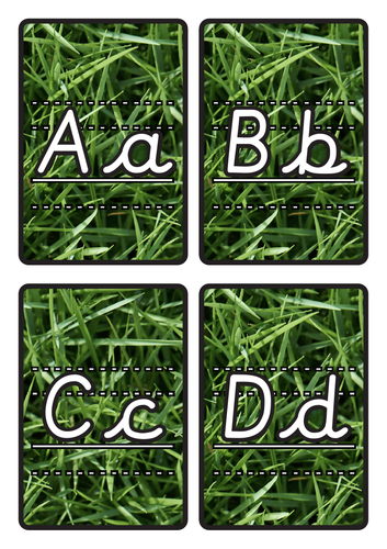 Lined Alphabet Flashcards A-Z Lower & Uppercase on Grass Background