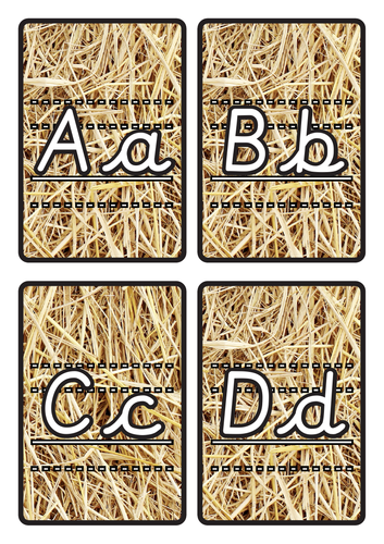 Lined Alphabet Flashcards A-Z Lower & Uppercase on Hay Background