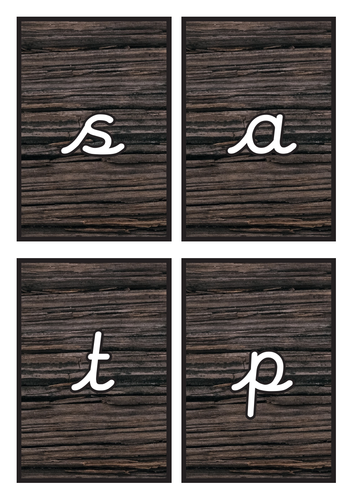 Cursive Phase 2 Phonics Flashcards on Dark Wood Background
