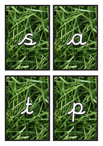Cursive Phase 2 Phonics Flashcards on Grass Background
