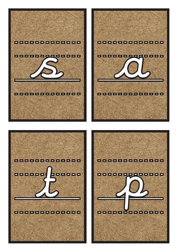Lined Cursive Phase 2 Phonics Flashcards on Kraft Background