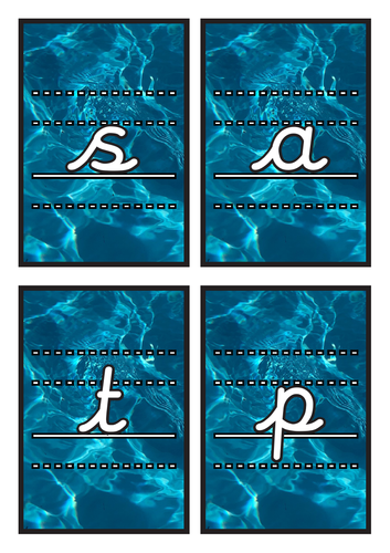 Lined Cursive Phase 2 Phonics Flashcards on Water Background