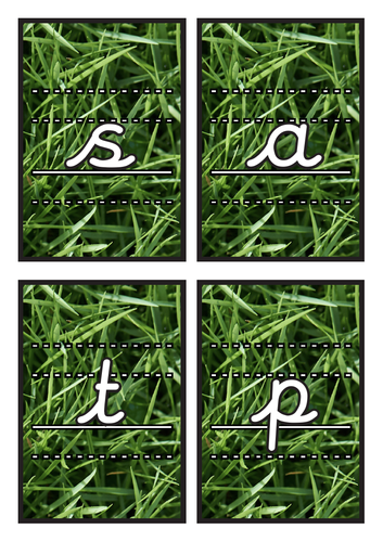 Lined Cursive Phase 2 Phonics Flashcards on Grass Background