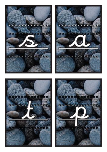 Lined Cursive Phase 2 Phonics Flashcards on Pebble Background