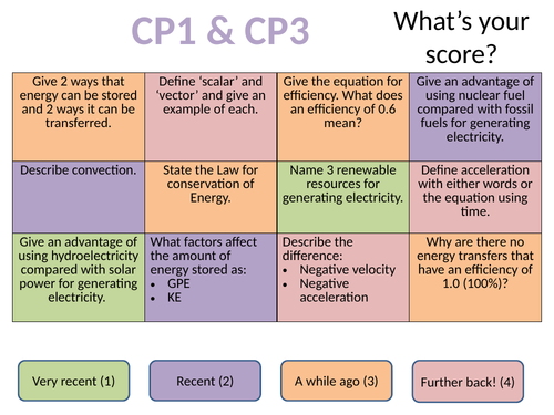 CP1 / SP1 and CP3 / SP3 Motion and Energy retrieval practice revision