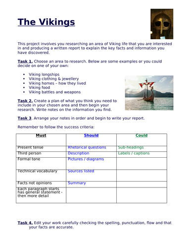 Vikings Research Project and Report Writing