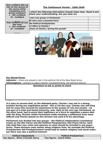 AQA History  Unit 1D - Recap on Settlement, 1646-48