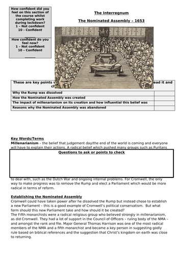 AQA Unit 1D - Recap on The Nominated Assembly, 1653
