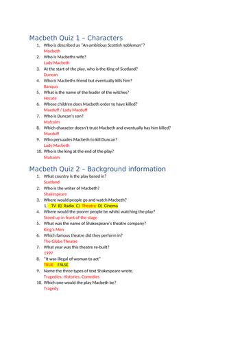 Macbeth Quizzes
