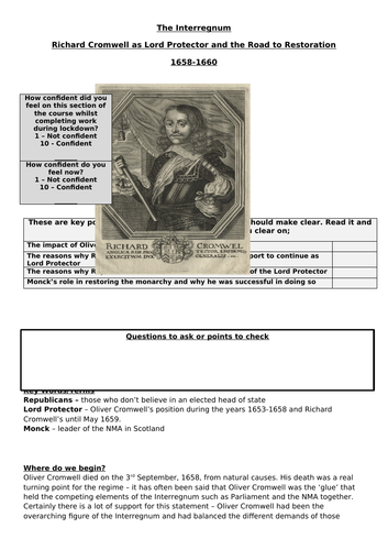 AQA Unit 1D - Recap on The End of the Protectorate and Road to Restoration, 1658-60