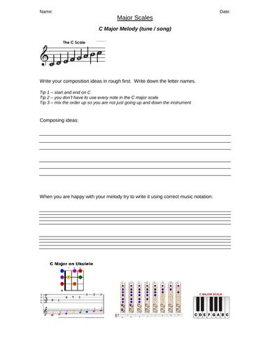 Composing using SCALES - C major Worksheet