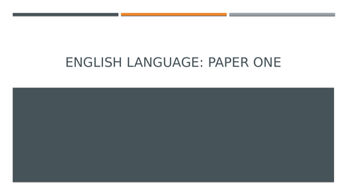 GCSE English: Language Paper One