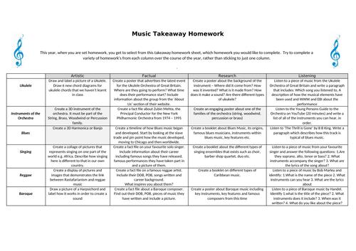 Key Stage 3 - Music Homework Sheet 1