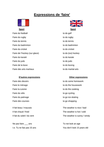 French: Expressions of faire