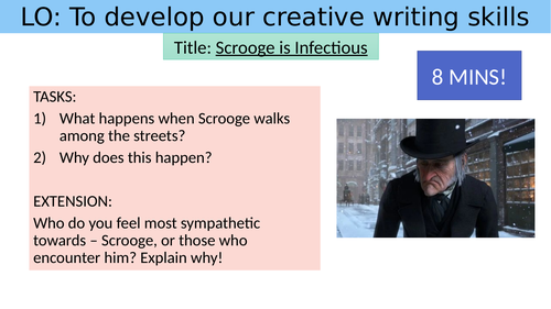 'A Christmas Carol' creative writing cover lesson