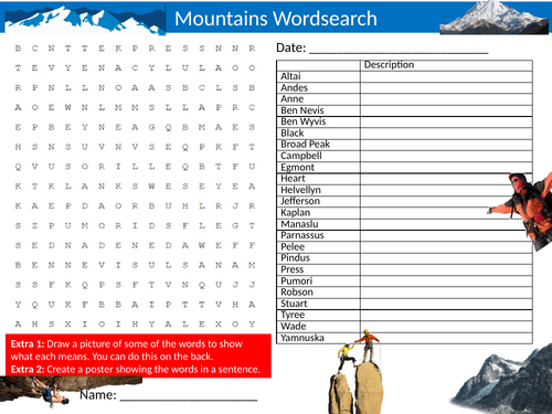 6 x Mountains Wordsearch Geography Starter Settler Activity Homework Cover Lesson