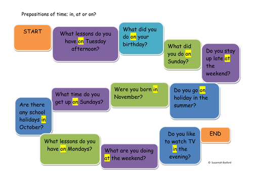 EAL/ESOL/EFL Prepositions of Time, simple board game, Entry/Beginner level