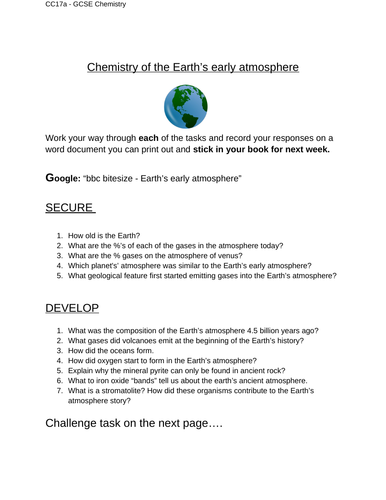 Edexcel CC17a early atmosphere IT worksheet