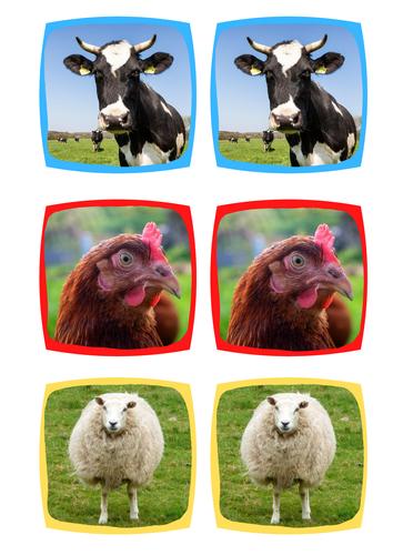 Farm Animals Matching Cards (memory)