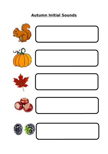 Autumn Writing - Initial Sounds + Simple Sentences + Descriptions