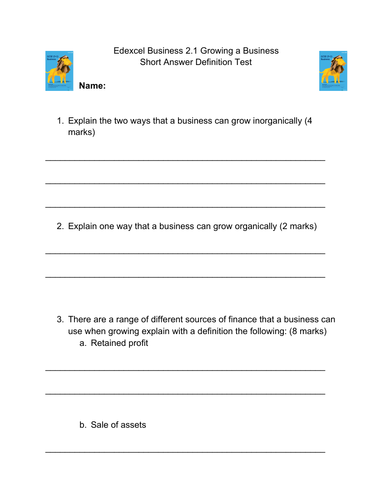 Edexcel Business - End of Unit Test - Theme 2 - 2.1. Growing a Business - 15 short mark questions