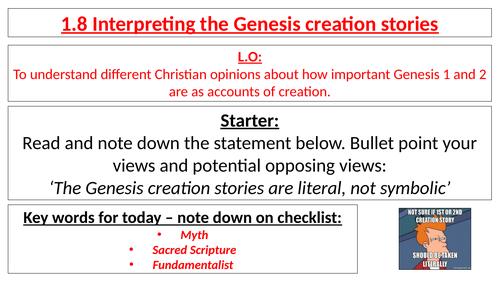 AQA B GCSE - 1.8 Interpreting the Genesis creation stories