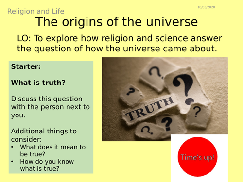 AQA GCSE RE RS - 1 Origins of the Universe - Theme B: Religion and Life