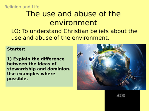 AQA GCSE RE RS - 3 The environment and pollution - Theme B: Religion and Life