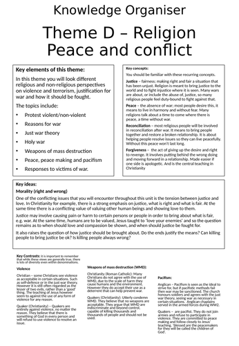 AQA GCSE RE RS - Theme D: Religion, Peace and Conflict - Knowledge Organiser