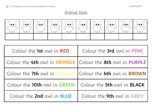 Year 1 Ordinal Numbers Colouring Worksheet