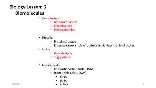 AQA Biology: Biomolecules Lesson 2