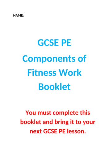 GCSE PE Components of Fitness Workbook