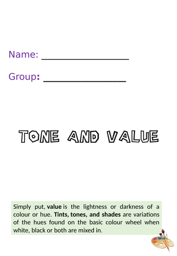 Tone and Value Activity Art Booklet