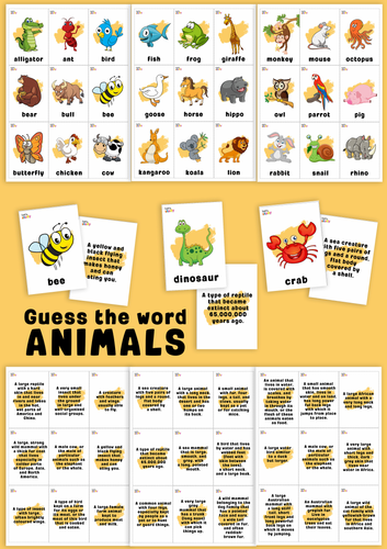 Guess the word game. ANIMALS.