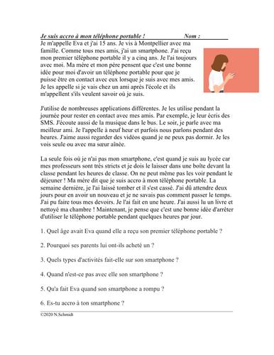 French Object Pronouns Reading: Je suis accro à mon téléphone portable !