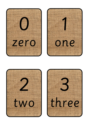 Hessian Number Cards with Words 1 - 10