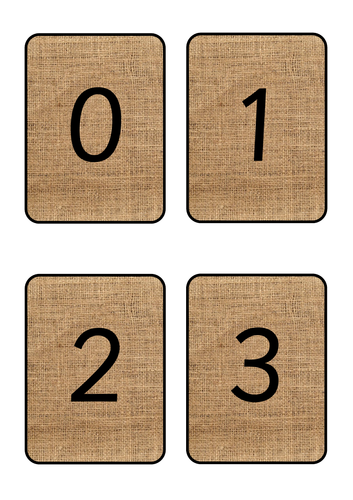 Hessian Number Cards 1 - 10