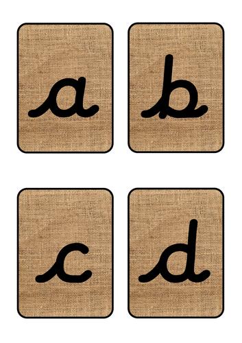 Hessian Alphabet Cards Cursive