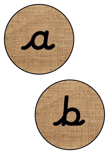 Hessian Alphabet Circles Cursive